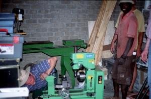 Aufbau der Drehbank auf Hakos (Januar 2002)