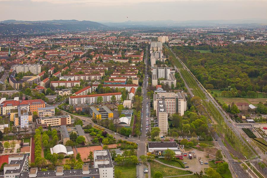 Großer Garten, Stübelallee, und Pirnaische Vorstadt